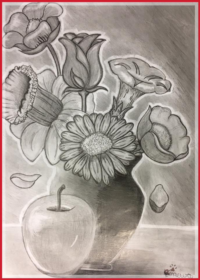 Arts & Culture - Still Life Drawing - Apple and Flowers
