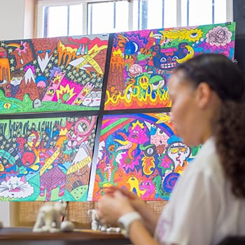 Colourful student artworks