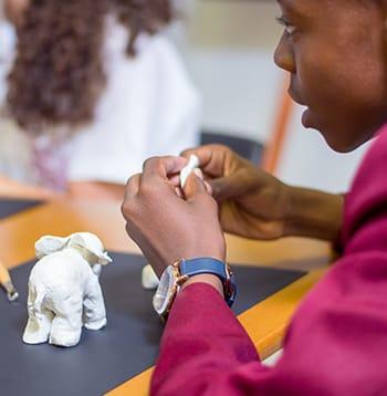 Student sculpting process